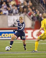 New England Revolution forward Taylor Twellman (20) brings the ball forward.  The Columbus Crew defeated the New England Revolution 3-2 at Gillette Stadium in Foxborough, MA on October 13, 2007.