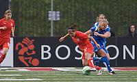 Washington Freedom forward Lisa De Vanna (17) moves ball against Boston Breakers midfielder Stacy Bishop (4). The Boston Breakers tied the Washington Freedom, 1-1, at Harvard Stadium on May 17, 2009.