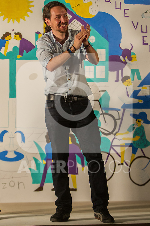 Pablo Iglesias during the start of the electoral campaign of Unidos Podemos, with the traditional putting up electoral posters. Jun 09,2016. (ALTERPHOTOS/Rodrigo Jimenez)