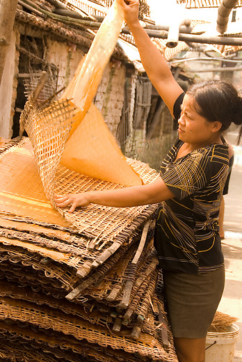 A woman peels rice paper from the drying racks in the village of tho Ha, Vietnam.  At one time Vietnam didn't produce enough rice to feed itself, but with the introduction of the free market they've soared to become one of the top exporters in the world.