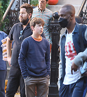 September 24, 2021.Josh Gordon, Winslow Fegley, filming on location for  Sony pictures Lyle Lyle Crocodile<br />   in New York September 24, 2021 Credit:RW/MediaPunch