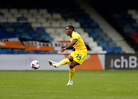 3rd October 2020; Kenilworth Road, Luton, Bedfordshire, England; English Football League Championship Football, Luton Town versus Wycombe Wanderers; Dennis Adeniran of Wycombe Wanderers passing the ball into midfield