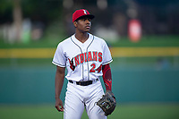 Indianapolis Indians third baseman Ke'Bryan Hayes (24) during an International League game against the Columbus Clippers on April 29, 2019 at Victory Field in Indianapolis, Indiana. Indianapolis defeated Columbus 5-3. (Zachary Lucy/Four Seam Images)