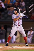 Syracuse Chiefs right fielder Matt den Dekker (3) at bat during a game against the Rochester Red Wings on July 1, 2016 at Frontier Field in Rochester, New York.  Rochester defeated Syracuse 5-3.  (Mike Janes/Four Seam Images)