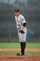 Pittsburgh Pirates pitcher Geoff Hartlieb (30) looks in for the sign during an Instructional League game against the New York Yankees on September 29, 2017 at the Yankees Minor League Complex in Tampa, Florida.  (Mike Janes/Four Seam Images)