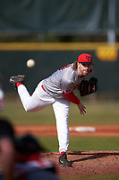 Illinois State Redbirds starting pitcher Steve Heilenbach (10) delivers a pitch during a game against the Ohio State Buckeyes on March 5, 2016 at North Charlotte Regional Park in Port Charlotte, Florida.  Illinois State defeated Ohio State 5-4.  (Mike Janes/Four Seam Images)