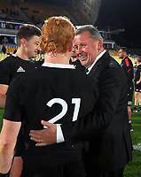 All Blacks head coach Ian Foster congratulates Fin Christie after his debut during the Steinlager Series rugby match between the New Zealand All Blacks and Tonga at Mt Smart Stadium in Auckland, New Zealand on Saturday, 3 July 2021. Photo: Dave Lintott / lintottphoto.co.nz