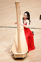 Se Hee Hwang from South Korea performs during Stage III at the 11th USA International Harp Competition at Indiana University in Bloomington, Indiana on Wednesday, July 10, 2019. (Photo by James Brosher)