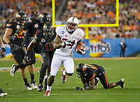 STANFORD, CA - January 2, 2012: Stanford running back Jeremy Stewart  (34) against Oklahoma State at the Fiesta Bowl at University of Phoenix Stadium in Phoenix, AZ. Final score Oklahoma State wins 41-38.