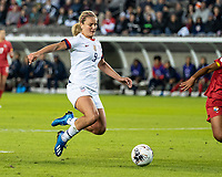 HOUSTON, TX - JANUARY 31: Lindsey Horan #9 of the USA goes for the ball in front of the goal during a game between Panama and USWNT at BBVA Stadium on January 31, 2020 in Houston, Texas.