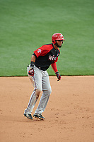 World Team Nomar Mazara (12) leads off during the MLB All-Star Futures Game on July 12, 2015 at Great American Ball Park in Cincinnati, Ohio.  (Mike Janes/Four Seam Images)