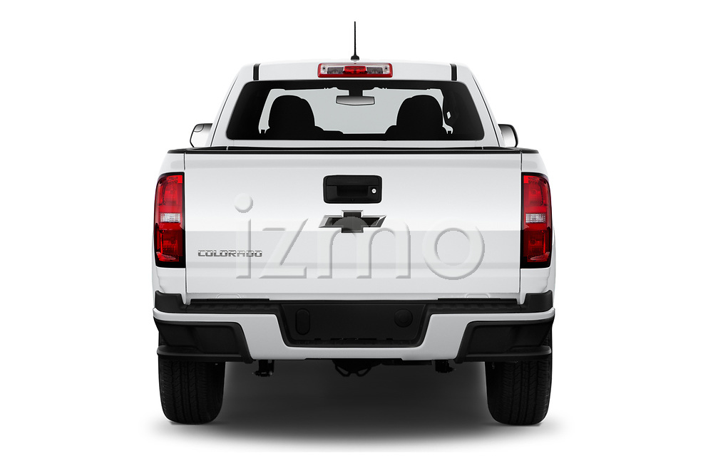 Straight rear view of 2019 Chevrolet Colorado WT 4 Door Pick-up Rear View  stock images