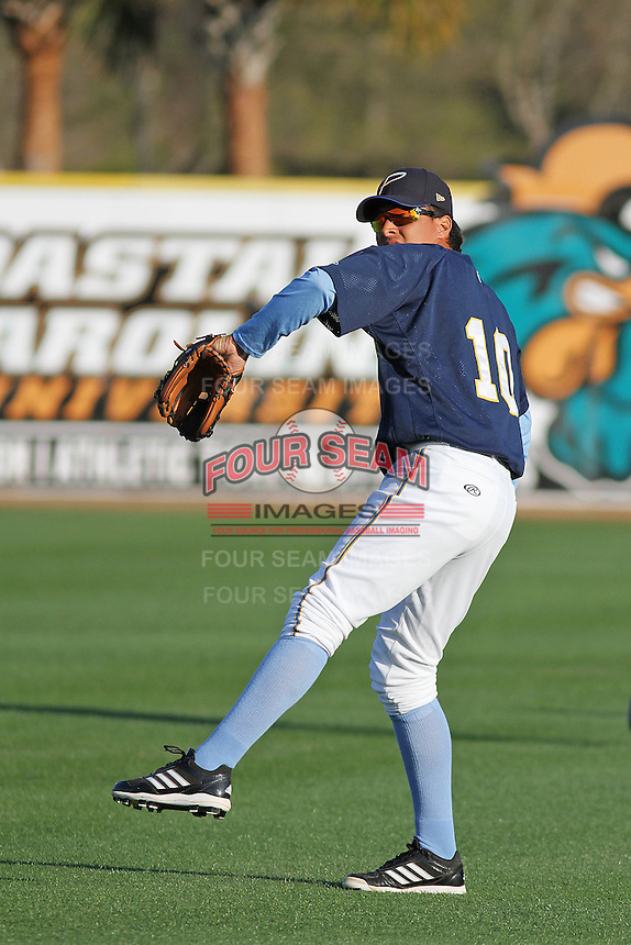 Myrtle Beach Pelicans infielder Edwin Garcia #10 throwing in the outfield during practice at Ticketreturn.com Field at Pelicans Park on April 2, 2012 in Myrtle Beach, South Carolina. Robert Gurganus/Four Seam Images)