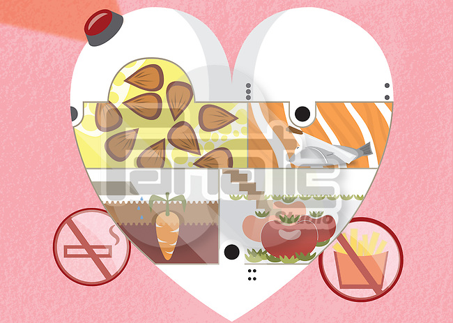 Illustrative image of healthy food in heart representing healthy diet