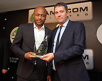 Pictured: Andre Ayew receives an award Wednesday 11 May 2016<br /> Re: Awards Dinner 2016, at the Liberty Stadium, south Wales, UK.