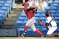 Altoona Curve shortstop Kevin Newman (2) at bat in front of catcher Colton Plaia (26) during a game against the Binghamton Rumble Ponies on May 17, 2017 at NYSEG Stadium in Binghamton, New York.  Altoona defeated Binghamton 8-6.  (Mike Janes/Four Seam Images)