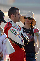 HOMESTEAD, FLORIDA - MARCH 26: Actress Ashley Judd watches husband Dario Franchitti take third place at the Toyota Indy 300 at Homestead-Miami Speedway Ashley could not wait to give her man a big hug and kiss when he retuned safely to pit row after the race,  especially after the tragic death of IRL rookie driver Paul Dana who was  killed in crash during a practice session earlier in the day on March 26, 2006 in Homestead, Florida.<br /> <br /> <br /> People:  Ashley Judd: Dario Franchitti