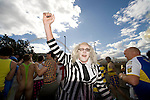 Rugby League Challenge Cup final.Wembley - fans of Leeds and Warrington dress up and.enjoy the sunshine on the way to the match.....Picture by Gavin Rodgers/ Pixel 07917221968