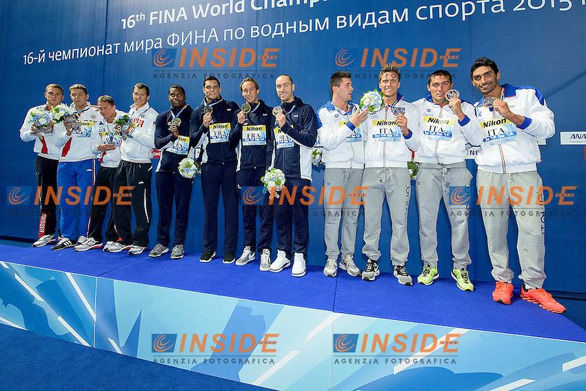 Podium<br /> Team France FRA Gold Medal<br /> Team Russian Federation RUS Silver Medal<br /> Team Italy ITA Bronze Medal<br /> 4X100 Freestyle Relay Men Final<br /> Swimming Kazan Arena<br /> Day10 02/08/2015<br /> XVI FINA World Championships Aquatics Swimming<br /> Kazan Tatarstan RUS July 24 - Aug. 9 2015 <br /> Photo G.Scala/Deepbluemedia/Insidefoto