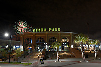Fireworks explode over the stadium following a game between the Columbia Fireflies and Charleston RiverDogs on Friday, April 5, 2019, at Segra Park in Columbia, South Carolina. Charleston won, 6-1. (Tom Priddy/Four Seam Images)