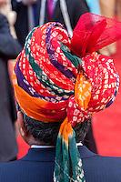 Jaipur, Rajasthan, India.  Gentleman in Western Suit with Traditional Rajasthani Turban.