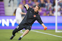 Orlando, FL - Saturday March 24, 2018: Utah Royals goalkeeper Nicole Barnhart (18) reacts for a shot prior to a regular season National Women's Soccer League (NWSL) match between the Orlando Pride and the Utah Royals FC at Orlando City Stadium. The game ended in a 1-1 draw.