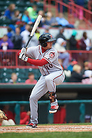 Richmond Flying Squirrels third baseman Mitch Delfino (10) at bat during a game against the Erie Seawolves on May 20, 2015 at Jerry Uht Park in Erie, Pennsylvania.  Erie defeated Richmond 5-2.  (Mike Janes/Four Seam Images)