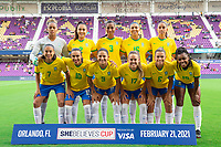 ORLANDO CITY, FL - FEBRUARY 21: Brazil Women's National Team photo before a game between Brazil and USWNT at Exploria Stadium on February 21, 2021 in Orlando City, Florida.