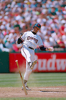 SAN FRANCISCO, CA - Will Clark of the San Francisco Giants throws his bat and kicks the dirt after striking out during a game against the Los Angeles Dodgers at Candlestick Park in San Francisco, California on June 18, 1993. Photo by Brad Mangin