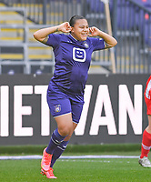 Mariam Abdulai Toloba (19) of Anderlecht pictured celebrating after scoring a goal during a female soccer game between RSC Anderlecht Dames and Standard Femina De Liege on the third matchday of play off 1 of the 2020 - 2021 season of Belgian Womens Super League , saturday 24 th of April 2021  in Brussels , Belgium . PHOTO SPORTPIX.BE | SPP | DAVID CATRY