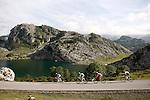 Alberto Contador (w), Alejandro Valverde (g), Joaquin Purito Rodriguez (r) and Nairo Alexander Quintana pass by the Lakes of Covadonga during the stage of La Vuelta 2012 between La Robla and Lagos de Covadonga.September 2,2012. (ALTERPHOTOS/Paola Otero)