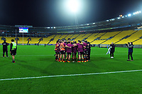 The Maori All Blacks huddle before the international rugby match between Manu Samoa and the Maori All Blacks at Sky Stadium in Wellington, New Zealand on Saturday, 26 June 2021. Photo: Dave Lintott / lintottphoto.co.nz