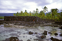 Pa Hula (Hula Platform) and tidepool at Puu Honua O Honaunau National Historic Park (City of Refuge), in Kona, Hawaii.