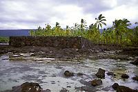 Pa Hula (Hula Platform) and tidepool at Puu Honua O Honaunau National Historic Park (City of Refuge), in Kona, Hawaii.