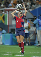 26 August 2004:  Cat Reddick in action during the Gold Medal game against Brazil at Karaiskaki Stadium in Athens, Greece.   USA defeated Brazil, 2-1 in overtime.   Credit: Michael Pimentel / ISI.