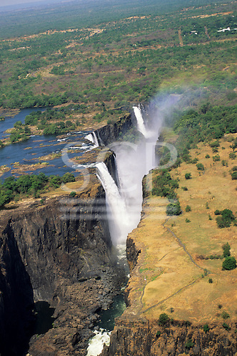 Victoria Falls, Zambia to Zimbabwe border. The falls from the air showing the Zambesi River gorge.