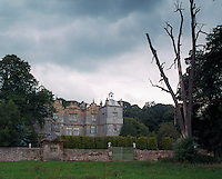 A view of Plas Teg from the fields beyond the front gate