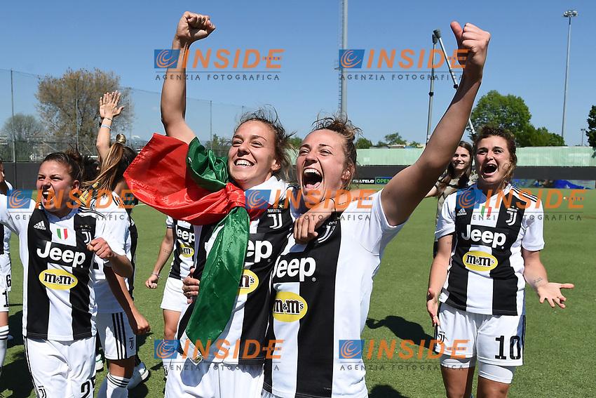 Aurora Galli-Lisa Boattin. Celebration at the end of the match <br /> Verona 20-4-2019 Stadio AGSM Olivieri <br /> Football Women Serie A Hellas Verona - Juventus <br /> Juventus win italian championship <br /> Photo Daniele Buffa / Image Sport / Insidefoto