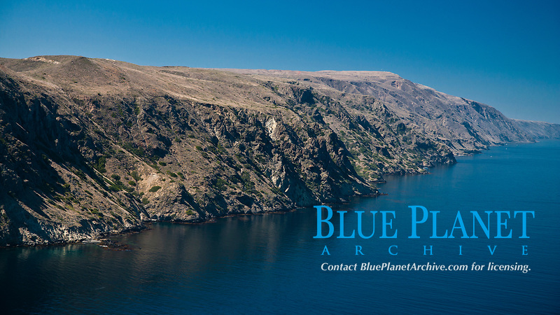 San Clemente Island, steep cliffs and mountainous terrain on the south eastern shore of the island.