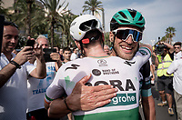 Sam Bennett (IRL/Bora-Hansgrohe) wins the bunch sprint into Alicante & is congratulated by teammate Jempy Drucker (LUX/Bora-Hansgrohe)<br /> <br /> Stage 3: Ibi. Ciudad del Juguete to Alicante (188km)<br /> La Vuelta 2019<br /> <br /> ©kramon