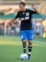 16 August 2008:  Darren Huckerby of the Earthquakes dribbles the ball during the game against the Revolution at Buck Shaw Stadium in Santa Clara, California.   San Jose Earthquakes defeated New England Revolution, 4-0.