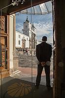 San Francisco Church (Iglesia de San Francisco), Quito as seen from Casa Gangotena Hotel, Ecuador, South America