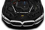 Car Stock 2021 BMW 5-Series 530e-Sport 4 Door Sedan Engine  high angle detail view