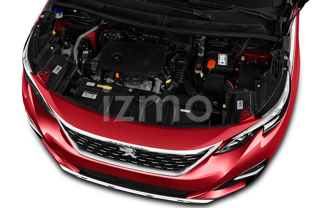 Car stock 2018 Peugeot 3008 Allure 5 Door SUV engine high angle detail view