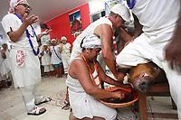 Cerimônia de consagração de mãe de santo no terreiro Ilê Asé , Guinso-Erê,  do tradicional Candomblé Nagô, em Belém (PA). Inclui rituais milenares de dança, cânticos e orações na língua iorubá, indumentárias e obrigações típicas da cultura africana. Como o sacrifício de animais em oferenda aos orixás.