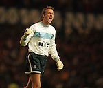 On loan goalkeeper Thomas Myhre celebrates as Rod Wallace scores a screamer against Borussia Dortmund at Ibrox in 1999
