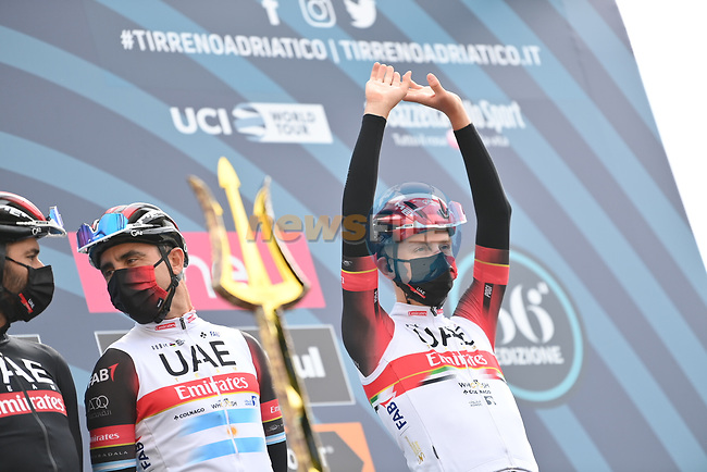 Tadej Pogacar (SLO) UAE Team Emirates at sign on before the start of Stage 3 of Tirreno-Adriatico Eolo 2021, running 219km from Monticiano to Gualdo Tadino, Italy. 12th March 2021. <br /> Photo: LaPresse/Gian Mattia D'Alberto | Cyclefile<br /> <br /> All photos usage must carry mandatory copyright credit (© Cyclefile | LaPresse/Gian Mattia D'Alberto)