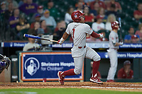 Diego Muniz (1) of the Oklahoma Sooners follows through on his swing against the LSU Tigers in game seven of the 2020 Shriners Hospitals for Children College Classic at Minute Maid Park on March 1, 2020 in Houston, Texas. The Sooners defeated the Tigers 1-0. (Brian Westerholt/Four Seam Images)