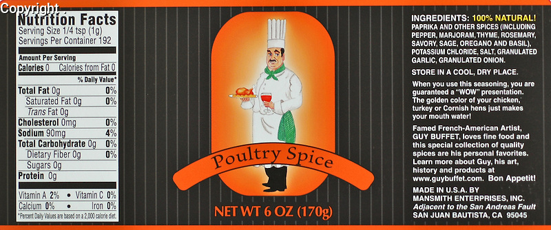 Guy Buffet Poultry Spice<br /> <br /> When you use this seasoning, you are guaranteed a WOW presentation! The color of your chicken, turkey or Cornish hens just makes our mouth water!<br /> Included in 4 pack <br /> $42 included shipping in Continental US