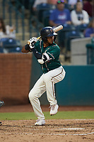 Lolo Sanchez (34) of the Greensboro Grasshoppers at bat against the Winston-Salem Dash at First National Bank Field on June 3, 2021 in Greensboro, North Carolina. (Brian Westerholt/Four Seam Images)